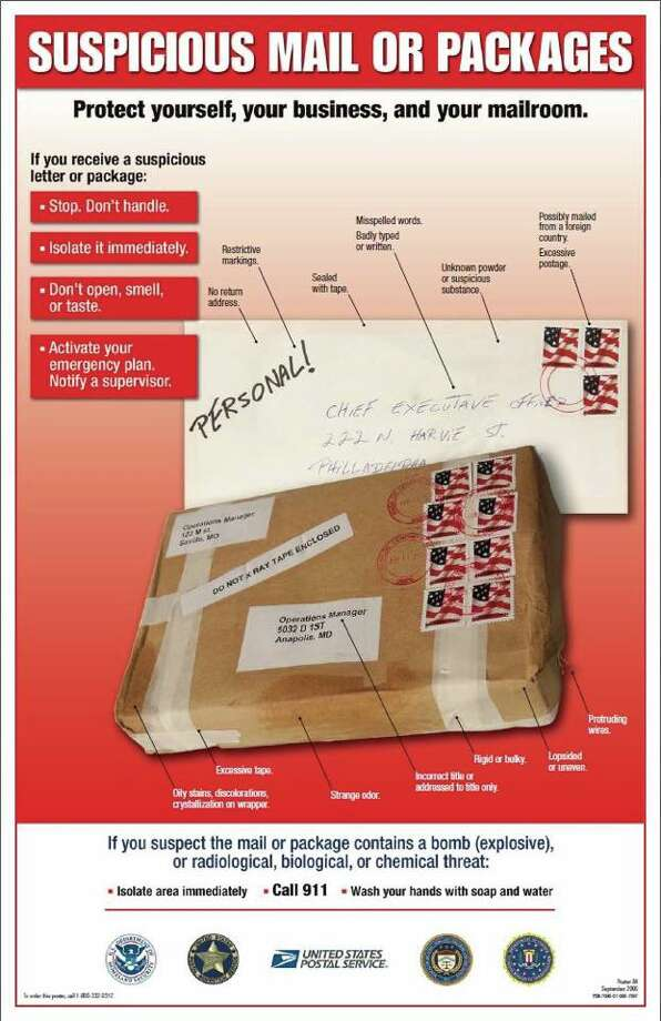 Here's what to look for if you think you've received a suspicious package: No return address, restrictive markings, sealed with tape, misspelled words, badly typed or written address, unknown powder or substance, excessive postage or mailed from a foreign country, stains or discoloration, strange odor, rigid or bulky, protruding wires, lopsided or uneven box or package.