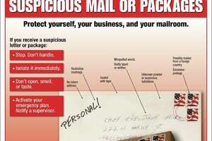 Here's what to look for if you think you've received a suspicious package:    No return address   Restrictive markings   Sealed with tape   Misspelled words   Badly typed or written address   Unknown powder or substance   Excessive postage or mailed from a foreign country   Stains or discolorations    Strange odor   Rigid or bulky   Protruding wires   Lopsided or uneven box or package