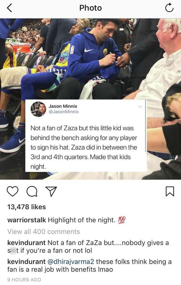 "An Instagram account dedicated to Golden State Warriors shared this  tweet by ESPN San Antonio's Jason Minnix. Kevin Durant replied, saying  ""nobody gives a sh-t if you're a fan or not."" Photo: Instagram Screengrabs"