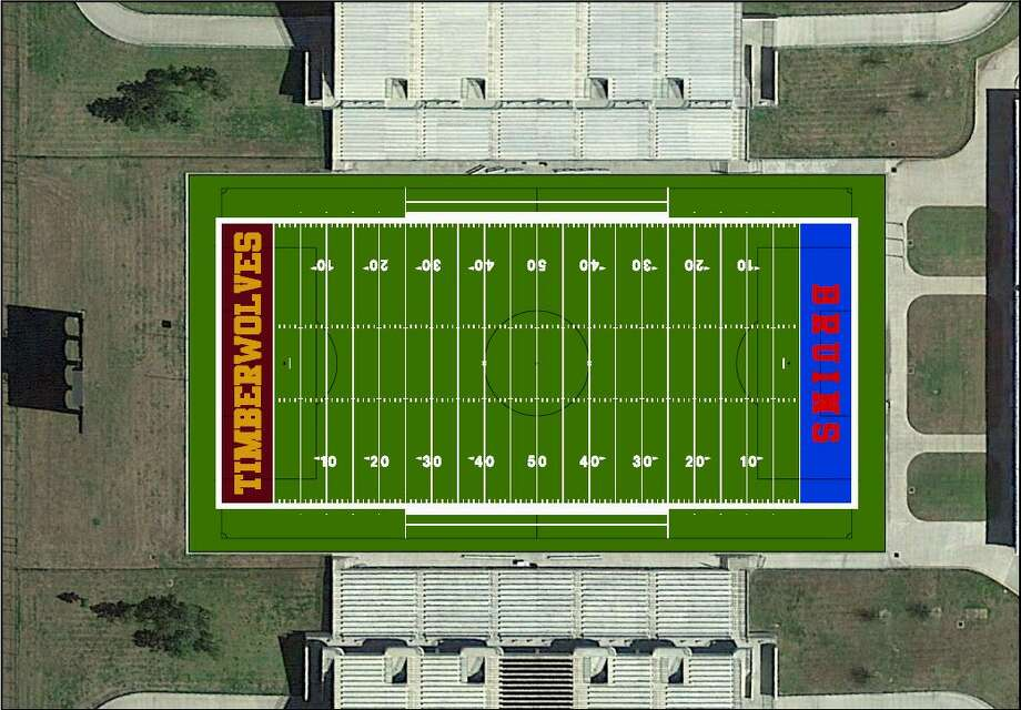 Hellas Construction created this rendering of new turf to be installed at the Thomas Center. Beaumont ISD's governing board will vote on approving the purchase on March 20. Photo: Beaumont ISD