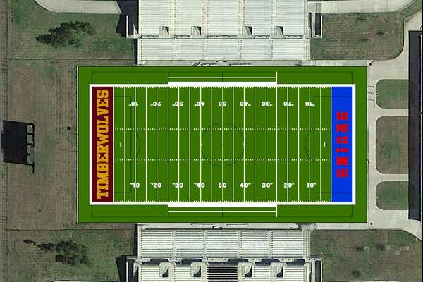 Hellas Construction created this rendering of new turf to be installed at the Thomas Center. Beaumont ISD's governing board will vote on approving the purchase on March 20.