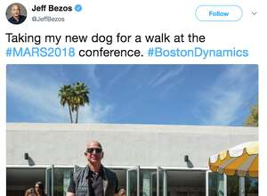 Amazon CEO tweeted a photo of himself walking with a Boston Dynamics robot dog at the MARS conference in Palm Springs on March 19, 2018.
