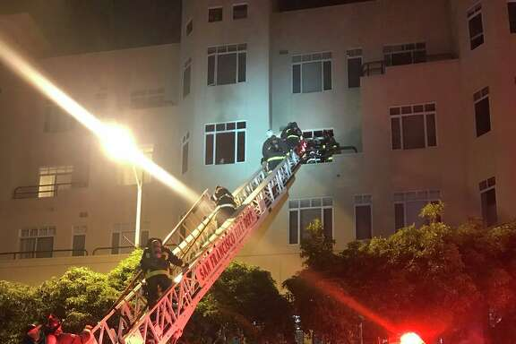 One woman was injured and six were displaced in a Jackson Street fire early Tuesday, March 20, 2018 in San Francisco.