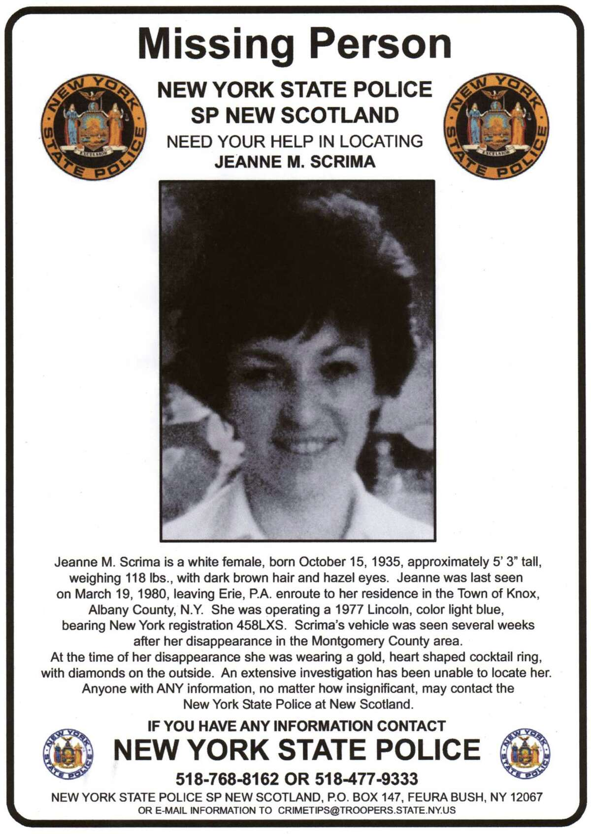Hand out photo of NYS Police Missing Person poster for Jeanne M. Scrima.