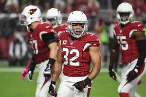 GLENDALE, AZ - OCTOBER 17:  Free safety Tyrann Mathieu #32 of the Arizona Cardinals reacts after a tackle made during the first quarter of the NFL game against the New York Jets at University of Phoenix Stadium on October 17, 2016 in Glendale, Arizona.  (Photo by Norm Hall/Getty Images)