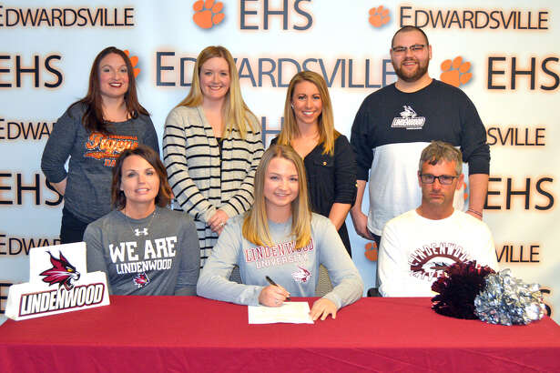 Edwardsville senior Madalyn Close has signed to compete in dance at Lindenwood University-Belleville. In the front row, from left to right, are mother Angie Close, Madalyn Close and father Loren Close. In the back row, from left to right, are EHS coach Lisa Stark, EHS assistant coach Hilary Duncan, Lindenwood-Belleville coach Stephanie Brant and Lindenwood-Bellevllle assistant coach Karl Brown.