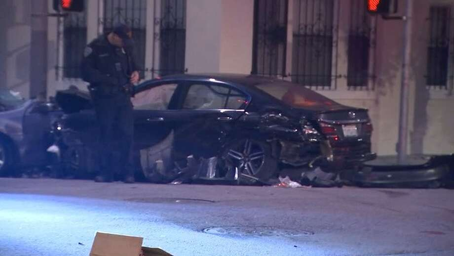 Five people were taken to the hospital in critical condition, San  Francisco firefighters tweeted Tuesday morning, because of an accident  with two cars at Gough and Bush streets. March 20, 2018. Photo: KTVU