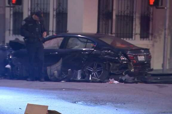 Five people were taken to the hospital in critical condition, San  Francisco firefighters tweeted Tuesday morning, because of an accident  with two cars at Gough and Bush streets. March 20, 2018.