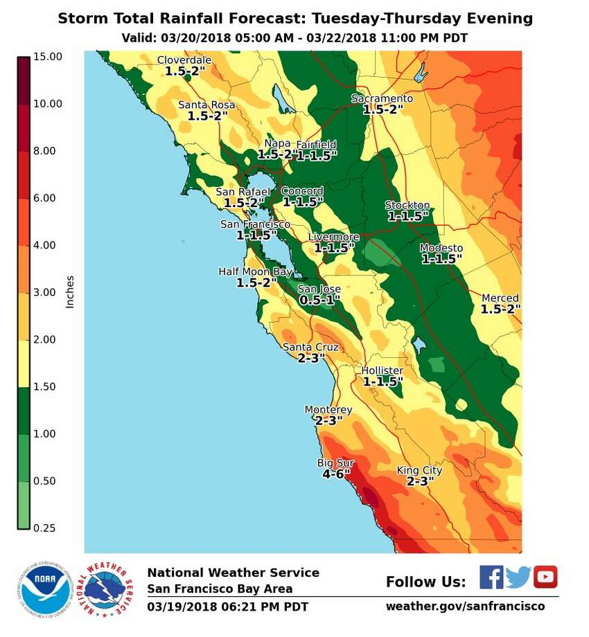 Bay Area Weather Map Pineapple express' forecast to deliver three days of rain to Bay