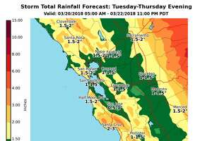 """National Weather Service's rainfall total for the Greater Bay Area, Tuesday through Thursday evening. A """"pineapple express"""" has moved into the area and expected to deliver rain for three days straight."""