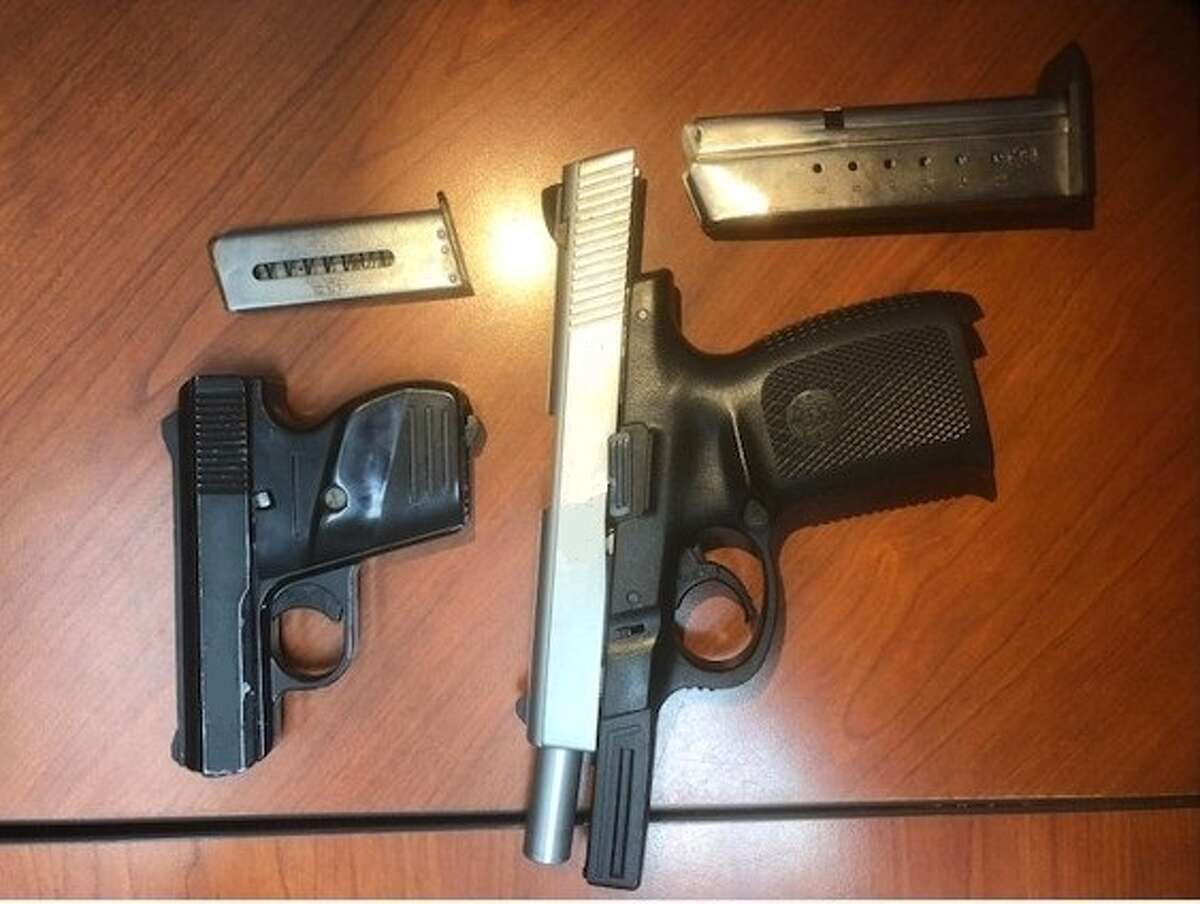 Rio Grande Valley Sector Border Patrol seized 45 pills of ecstasy, some marijuana and two loaded handguns on Saturday.