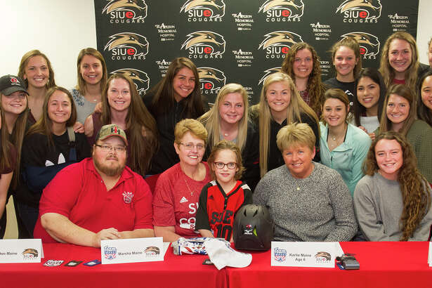 Karlie Maine, a six-year-old from Alhambra, signed a National Letter of Intent with the SIUE Softball, coordinated by Team IMPACT.