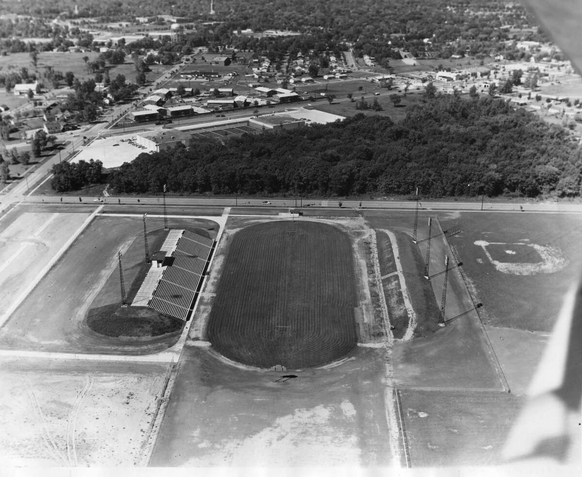 An aerial view of Midland Stadium during its construction in 1957-58.