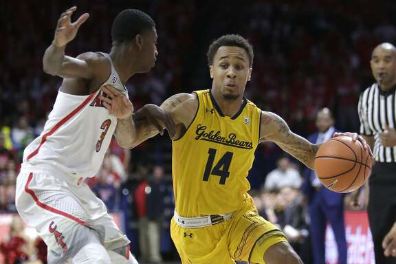 California guard Don Coleman (14) during an NCAA college basketball game against Arizona, Saturday, March 3, 2018, in Tucson, Ariz. Arizona defeated California 66-64. (AP Photo/Rick Scuteri)
