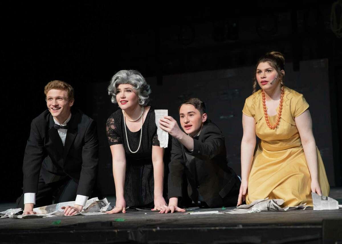 "The cast of New Milford High School's all-school musical, ""Curtains,"" includes Brian Hinger as Aaron Fox, Mika Stetson as Carmen Bernstein, Josh Abel as Oscar Shapiro and Jenna Drahota as Georgia Hendrix."