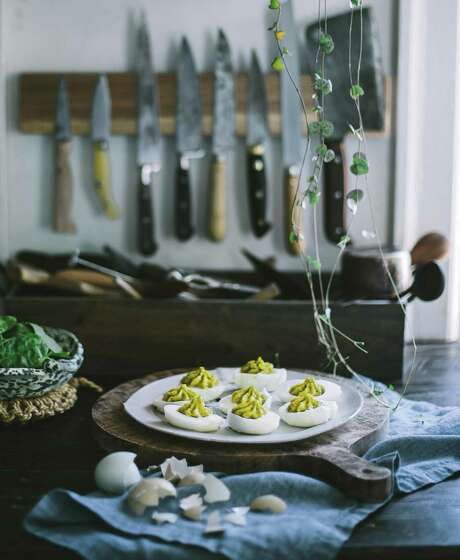"Spinach and Mustard Deviled Eggs from ""First We Eat"" by Eva Kosmas Flores. Photo: Eva Kosmas Flores /Courtesy Abrams"