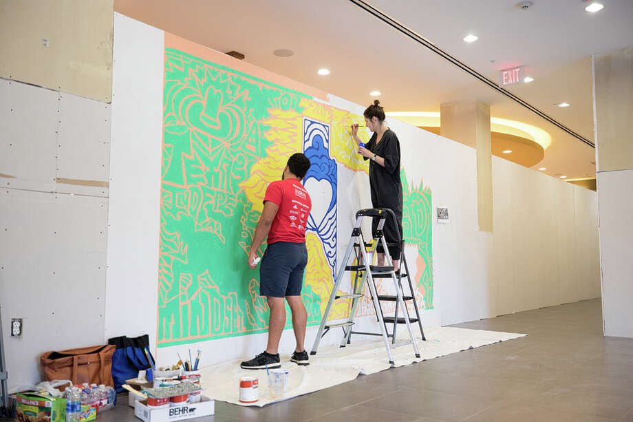 Art students at Lone Star College University Park are helping to beautify      and unite Houston. After Hurricane Harvey damaged the nearby Springhill Suites by Marriott        hotel, LSC University Park art students stepped up to help.                 The hotel was in need of art for its drab drywall at the entrance to the        hotel. Art student Mario Ramos designed a        mural. The art piece includes two murals that depict the #HoustonStrong theme        through symbols and words. Several students from LSC University Park's Fine Arts club helped Ramos        paint the panels at the hotel over several weeks. Now that Springhill Suites is renovated and the temporary walls have        been removed, the art panels have been given back to LSC University        Park. The art will soon be installed on campus. Photo: LSCS / © Lone Star College-University Park