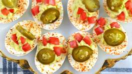 Deviled eggs inspired by the flavors of San Antonio.