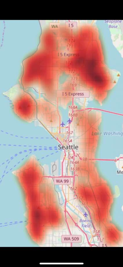 This heat map shows where the majority of the backyard cottages -- or ADUs -- could be built to increase Seattle's affordable housing stock. CityBldr calculated that 56,000 homes could be added to Seattle's stock on existing lots. Photo: Courtesy CityBldr