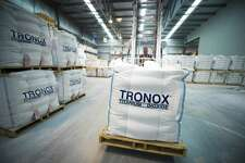 A Tronox warehouse storing bulk bags of titanium dioxide. Stamford-based Tronox faces opposition from U.S. and European regulators to its proposed $1.7 billion acquisition of Cristal's titanium dioxide business.