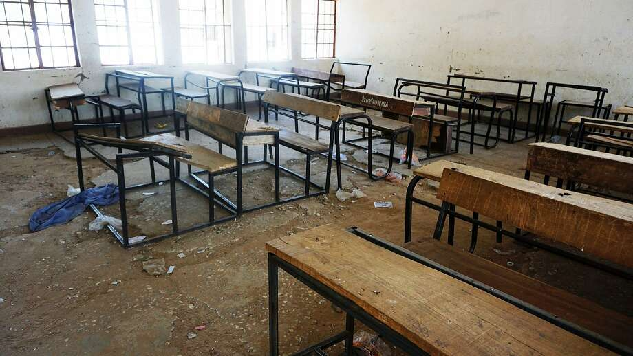 A classroom at the Government Girls Technical College in the northern Nigerian town of Dapchi stands abandoned days after Boko Haram militants abducted 110 students on Feb. 19. Photo: AMINU ABUBAKAR, AFP/Getty Images