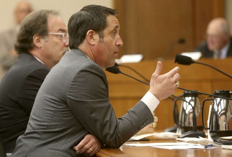 Texas Comptroller Glenn Hegar testifies March 20 to the Senate Finance Committee about a proposal to invest the rainy day fund so that it may yield better returns.   Lawmakers should pass in favor of honest dialogue. Photo: John Davenport / San Antonio Express-News / ©John Davenport/San Antonio Express-News