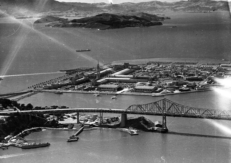 Treasure Island, as seen in 1939, would be converted to a military base after the Golden Gate International Exposition closed. Photo: The Chronicle / 1939