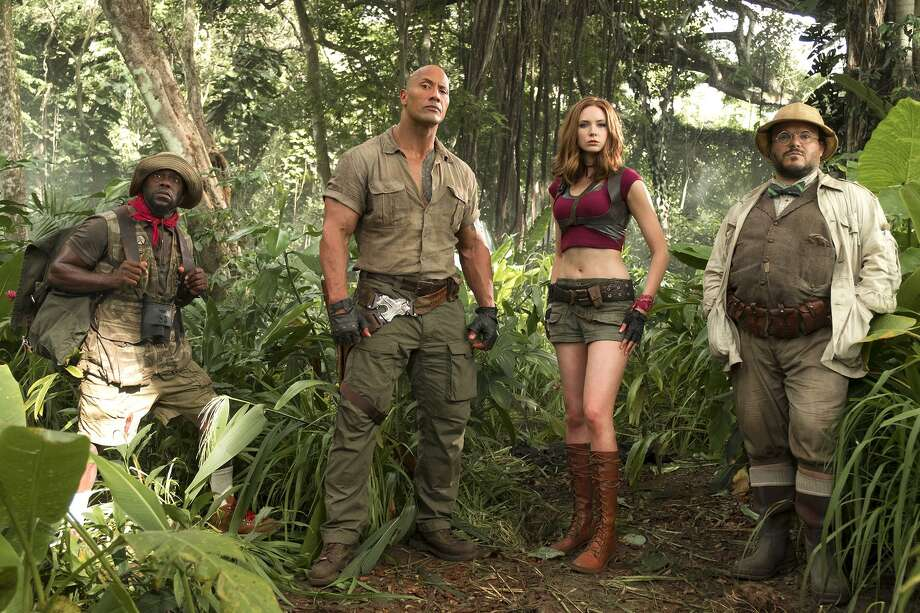 "Kevin Hart, Dwayne Johnson, Karen Gillan and Jack Black are all in the game in ""Jumanji: Welcome to the Jungle."" Photo: Frank Masi /Sony Pictures Entertainment / ©2016 CTMG."