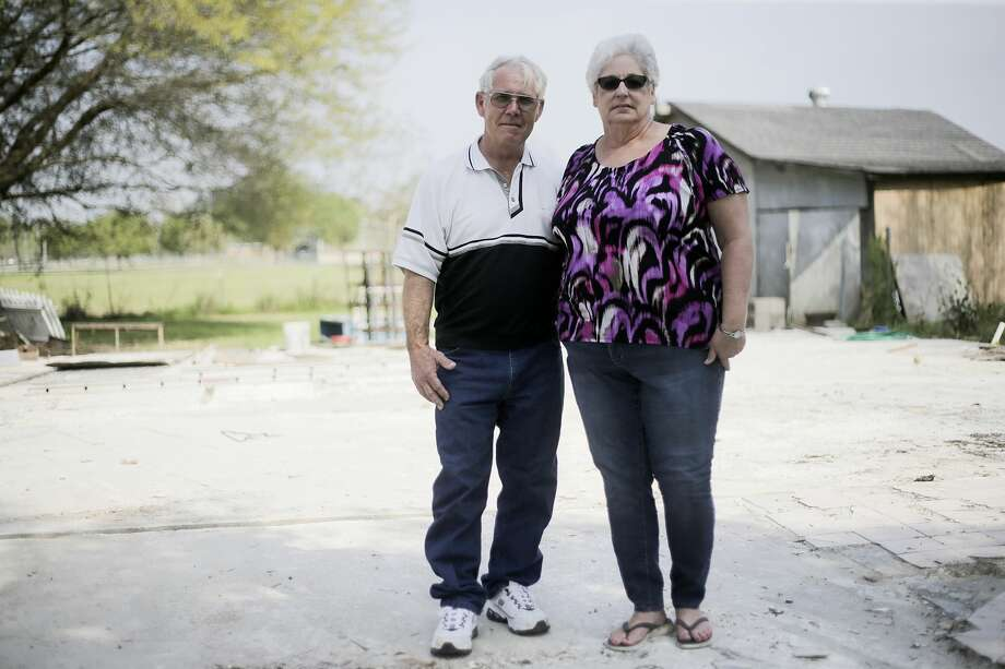 Diane and Nolan Glover on their property on Sunday, March 18, 2018, in Crosby, Texas. The couple's home, which was close to the Arkema plant, was destroyed by Hurricane Harvey. Photo: Elizabeth Conley
