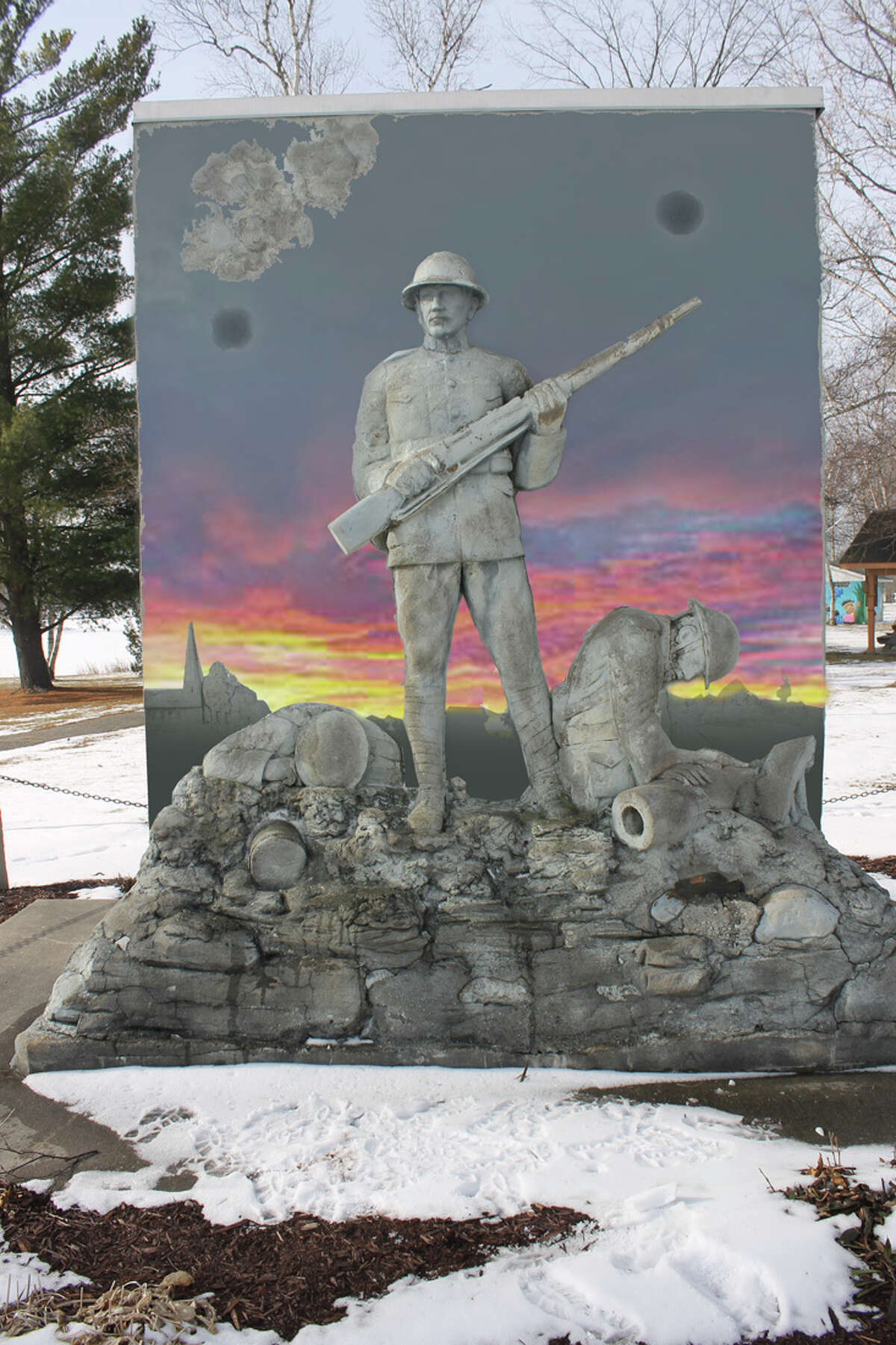 An artist rendering shows plans for the new Ross Lake Park WWI Monument, one of a handful of permanent memorials in the state. (Image provided)
