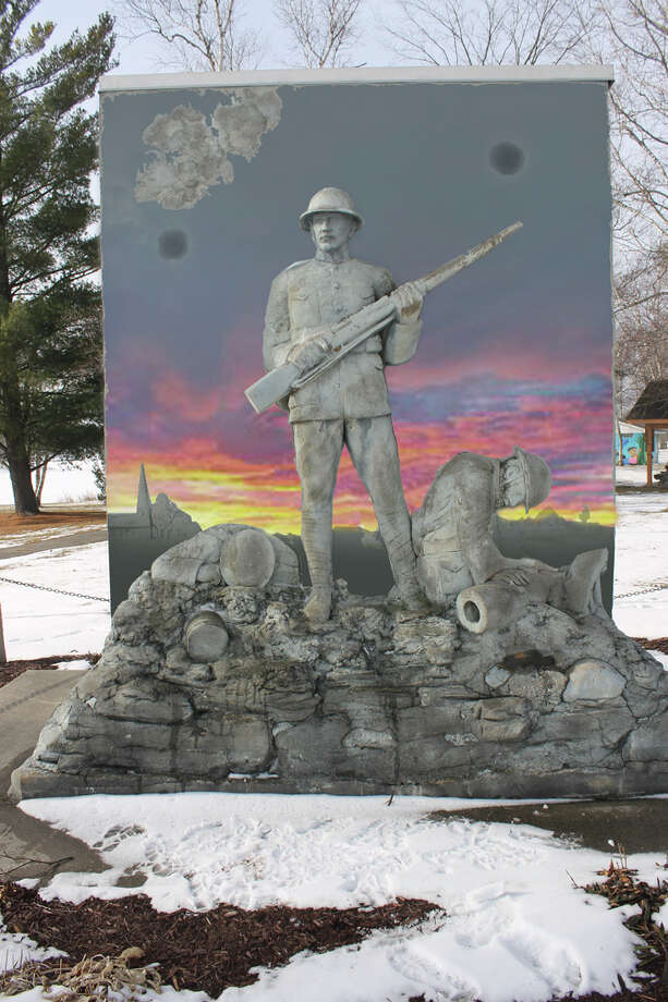 An artist rendering shows plans for the new Ross Lake Park WWI Monument, one of a handful of permanent memorials in the state. (Image provided) Photo: Photo Provided, (Image Provided)