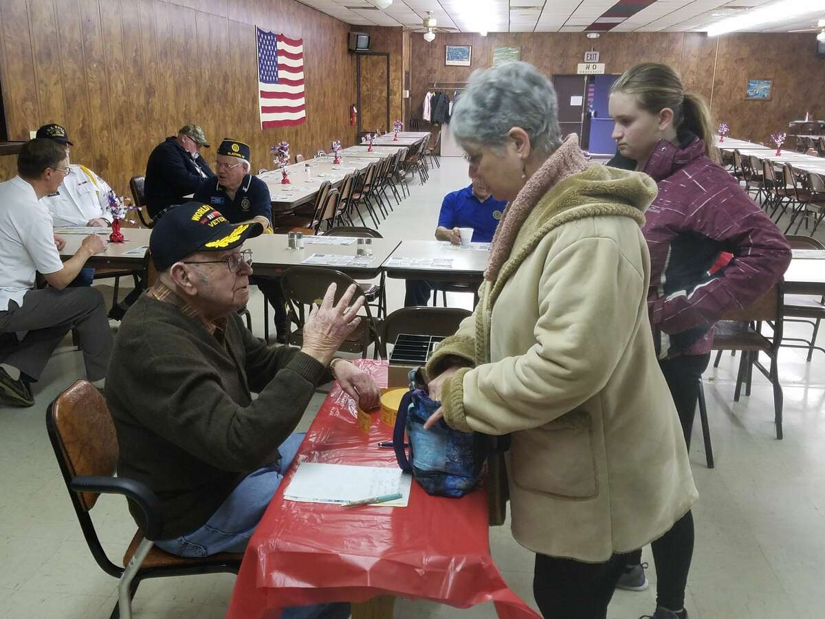 Many attended a spaghetti dinner to help raise money to restore the Ross Lake Park WWI Monument on Saturday, March 17, 2018. It is one of a handful of permanent memorials in the state. Veterans, spouses, city and county leaders attended the event at the Gladwin County VFW Hall. (Tereasa Nims/for the Daily News)