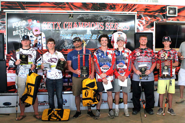 The winners of the fourth Southeast Texas High School Fishing Association tournament of the season Saturday at Umphrey Family Pavilion on Lake Sam Rayburn. Silsbee's Dylan Colvin and Morgan Roberts came in first place. Friendswood's Johnnie Nemecek and Hunter Scott came in second place and Kirbyville's Braden Barryman and Brennon Davis came in third. (Jason Dunn/Special to The Enterprise)