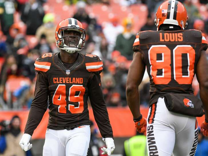 CLEVELAND, OH - DECEMBER 10, 2017: Linebacker Josh Keyes #49 of the Cleveland Browns celebrates a tackle on a punt return in the third quarter of a game on December 10, 2017 against the Green Bay Packers at FirstEnergy Stadium in Cleveland, Ohio. Green Bay won 27-21 in overtime. (Photo by: 2017 Nick Cammett/Diamond Images/Getty Images)