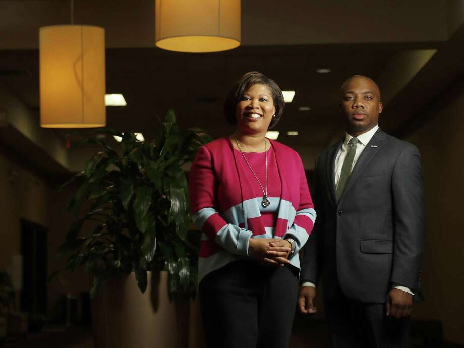 Courtney Johnson-Rose, Chairwoman of the Greater Houston Black Chamber of Commerce, and Errol Allen II, president of the National Black MBA Association Houston Chapter, photographed at The Power Center, Tuesday, March 20, 2018, in Houston. Their respective organizations will be hosting the eigth annual Houston Black Leadership Forum. ( Karen Warren / Houston Chronicle ) Photo: Karen Warren, Staff / Houston Chronicle / © 2018 Houston Chronicle