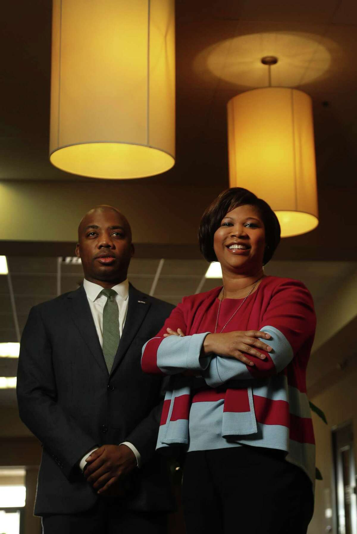 Courtney Johnson-Rose, Chairwoman of the Greater Houston Black Chamber of Commerce, and Errol Allen II, president of the National Black MBA Association Houston Chapter, photographed at The Power Center, Tuesday, March 20, 2018, in Houston. Their respective organizations will be hosting the eigth annual Houston Black Leadership Forum. ( Karen Warren / Houston Chronicle )