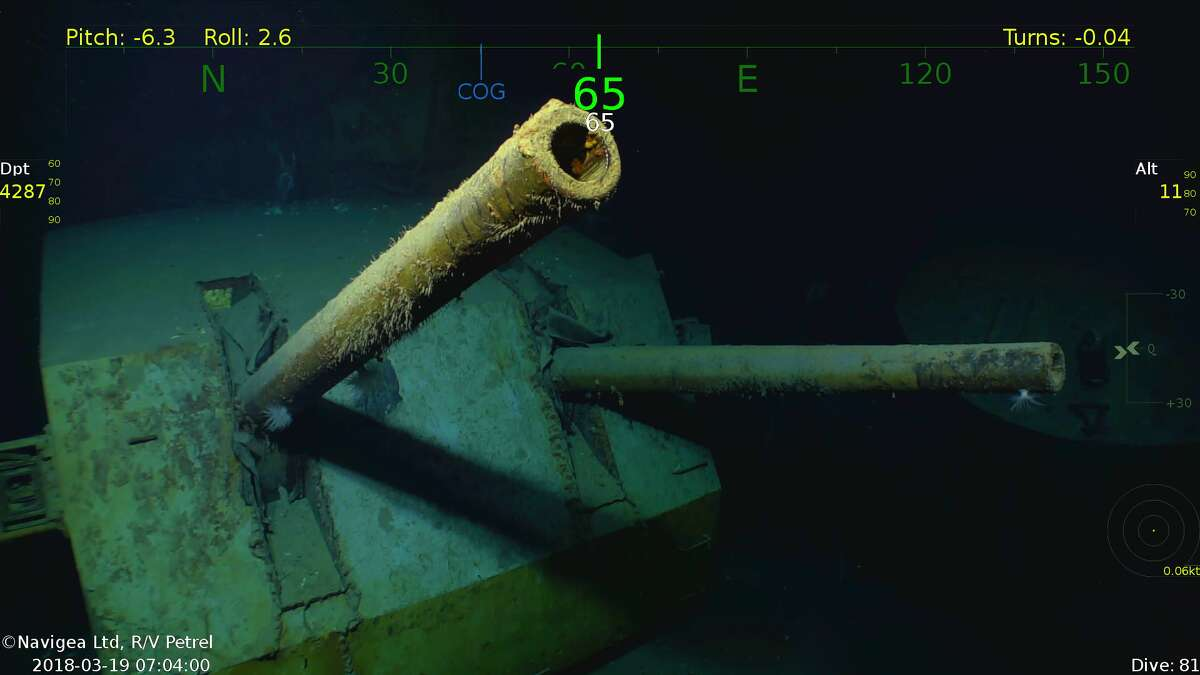 This underwater image shows guns on the deck of the USS Juneau, discovered last week by Paul Allen's research ship, the R/V Petrel.