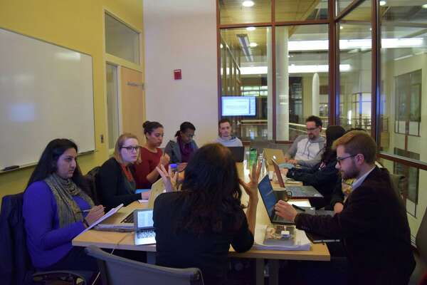 American University graduate students in a course called Democratic Decay and Authoritarianism in the West, taught by Cathy Schneider, an associate professor in the School of International Service.