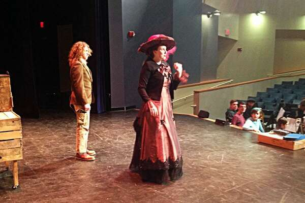"Portland High School senior Emily Bradshaw, shown here in dress rehearsals, will play the lead role in ""Hello Dolly!"" this weekend. There will be 41 other students on stage performing and 47 more either behind the scenes or in the orchestra pit."