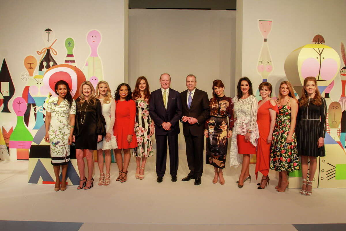 Claire Cormier-Thielke, from left, Millette Sherman, Stephanie Cockrell, Shawntell McWilliams, Brigitte Kalai, Jack Sweeney, Bob Devlin, Karina Barbieri, Alicia Smith, Hallie Vanderhider, Lindley Arnoldy and Paige Fertitta at the Houston Chronicle Best Dressed Luncheon and Neiman Marcus Fashion Presentation.