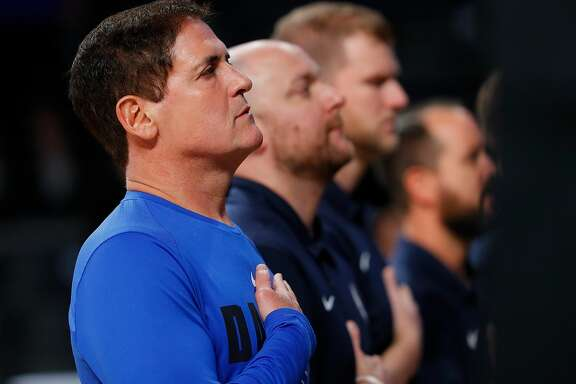 ATLANTA, GA - OCTOBER 12:  Mark Cuban, owner of the Dallas Mavericks, stands during the National Anthem prior to the game against the Atlanta Hawks at McCamish Pavilion on October 12, 2017 in Atlanta, Georgia. (Photo by Kevin C. Cox/Getty Images)