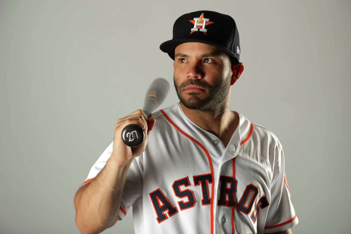 Jose Altuve #27 of the Houston Astros poses for a portrait at The Ballpark of the Palm Beaches on February 21, 2018 in West Palm Beach, Florida