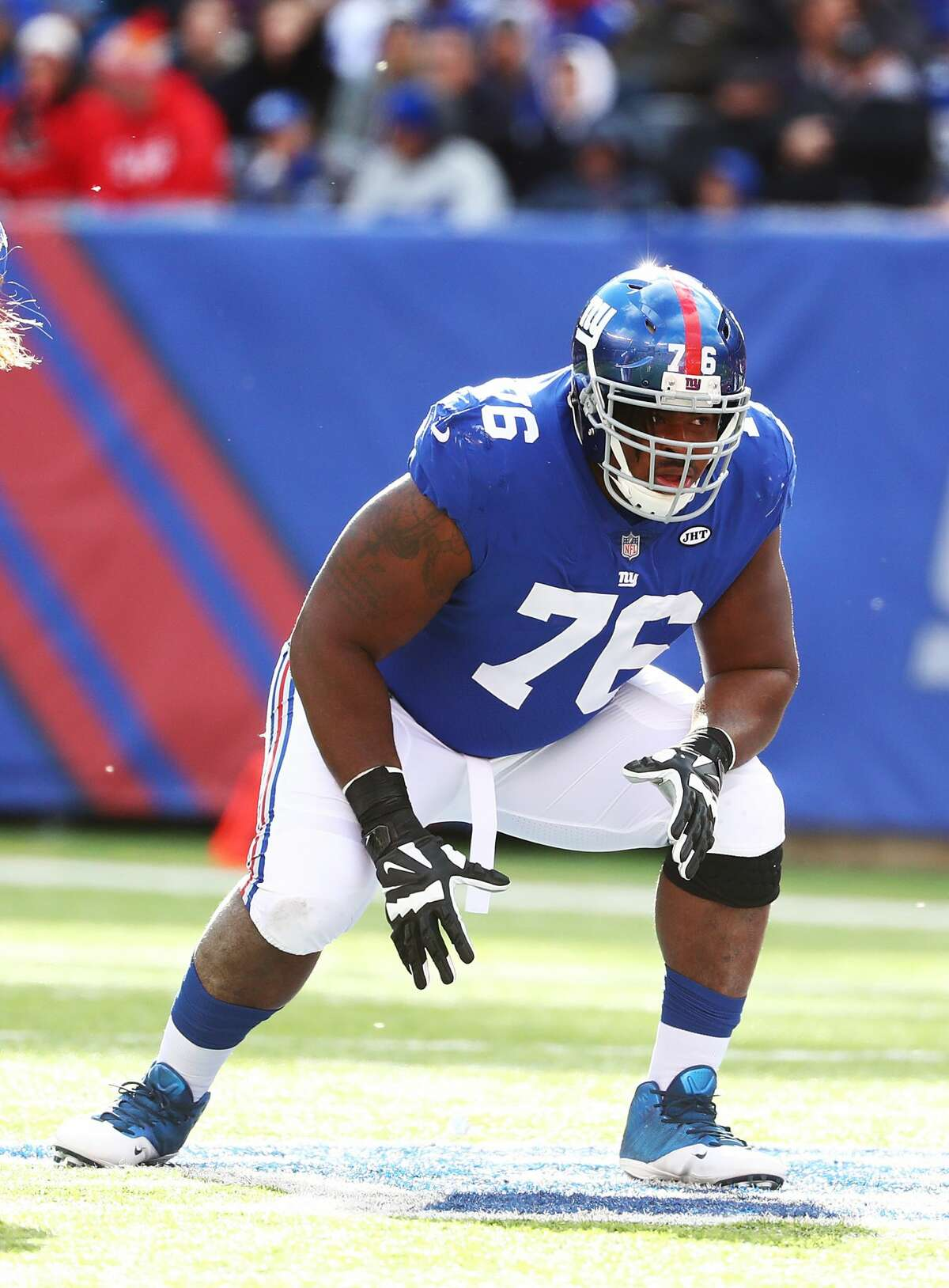 D.J. Fluker #76 of the New York Giants in action against the Kansas City Chiefs during their game at MetLife Stadium on Nov. 19, 2017 in East Rutherford, New Jersey.