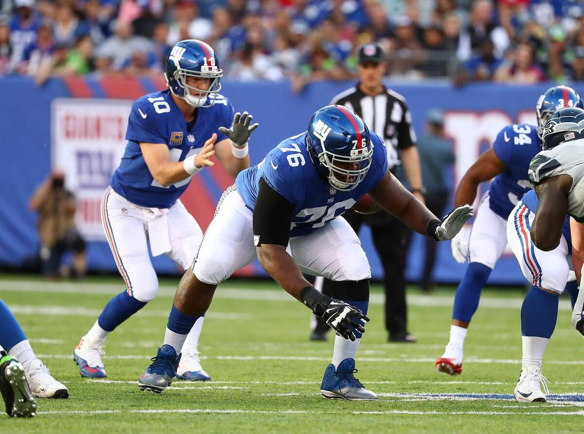 D.J. Fluker #76 of the New York Giants in action against the Seattle Seahawks during their game at MetLife Stadium on Oct. 22, 2017 in East Rutherford, New Jersey.