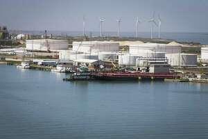 Oil storage tanks line the Port of Corpus Christi.