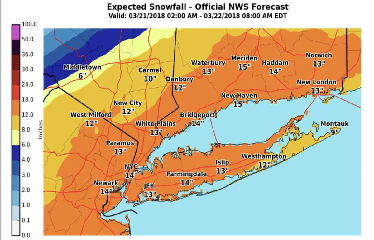 The fourth nor'easter this month is taking aim at storm-weary Connecticut with more than a foot of snow and gusty winds expected.