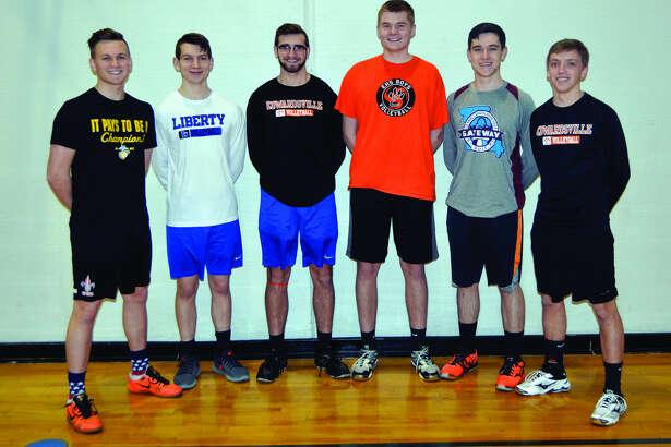 Senior members of the Edwardsville volleyball team from left to right are: Evan Billiter, Bob Dresner, Drew Berthlett, Cal Werths, Jacob Skelton and Lucas Verdun.
