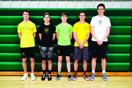 Returning members of the MELHS boys' volleyball team from left to right are Joshua Jacobsen, Christopher Brown, Brent Woolsey, Caleb Cope and Will Barney.