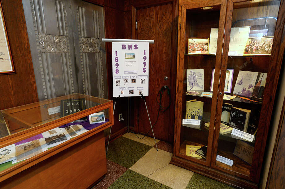Items on display for the Beaumont High School exhibit in the mini museum at the Jefferson County Courthouse. The items will be on display through May.  Photo taken Monday 3/19/18 Ryan Pelham/The Enterprise Photo: Ryan Pelham / ©2017 The Beaumont Enterprise/Ryan Pelham