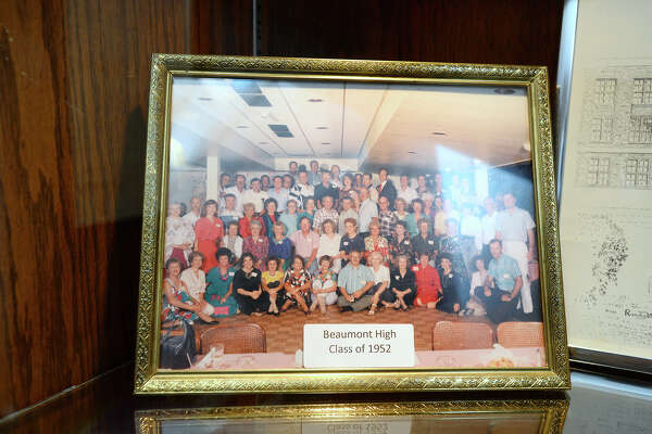 A reunion photo for the class of 1952 on display for the Beaumont High School exhibit in the mini museum at the Jefferson County Courthouse. The items will be on display through May.  Photo taken Monday 3/19/18 Ryan Pelham/The Enterprise